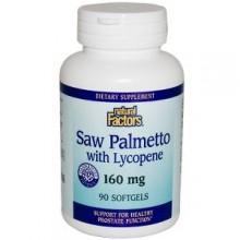 Fatores naturais, Saw Palmetto com licopeno, 160 mg, 90 cápsulas