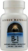 Fonte Naturals, B-1, Tiamina, 100 mg, 100 comprimidos